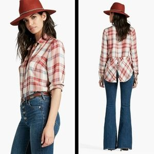 NWT Lucky Brand Bungalow Red White Plaid Shirt XL